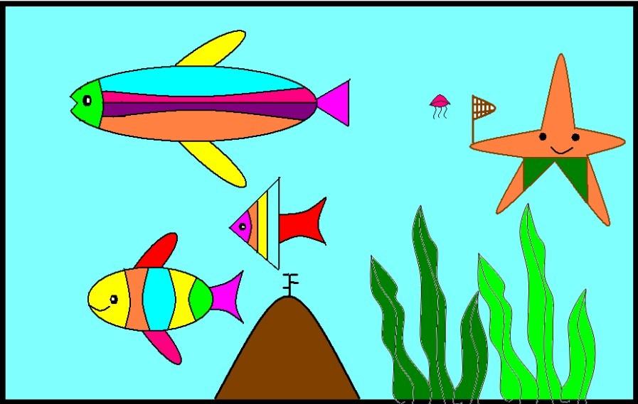 看,这就是我们心中的海底世界:身披彩衣的热带鱼在水里中穿来穿去;胖乎乎的娃娃鱼气定神闲地漫游着;身穿红袍的剑鱼如箭一般地从海带中掠过;彩虹鱼有各种各样的颜色,就像彩虹一样美丽;水母就像一个个蘑菇在海底漂动;胖大星,海绵宝宝也赶来凑热闹呢,可爱的小蝌蚪们也搬家了呢……海底世界犹如梦幻般的仙境,五彩斑斓。
